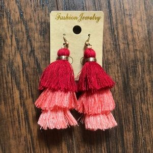 Layered red and pink tassel earrings